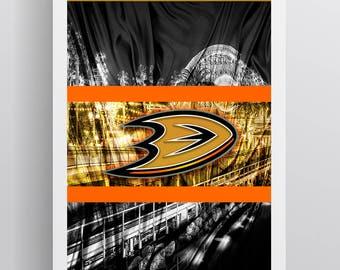 Anaheim Ducks Hockey Poster, Anaheim Ducks in front of skyline, Ducks Man Cave Print
