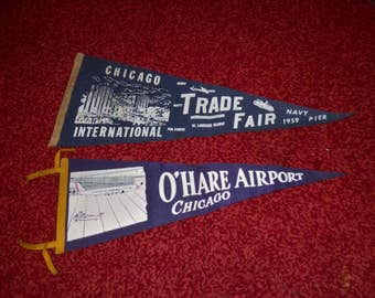 2 Vintage 1950s Chicago Illinois Pennants Military Trade Fair Navy Pier & Ohare Airport - Free Shipping