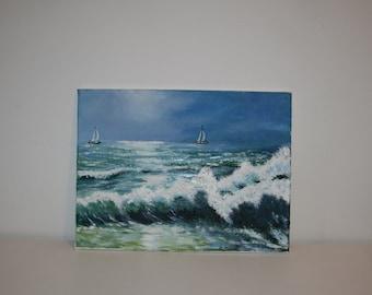 England's Seascape Modern Wall Art Textured Oil Painting On Canvas 30x40cm