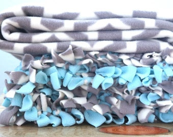 Stuffed fleece tied blankets