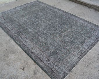 Turkish OVERDYED FADED GREEN Rug , Vintage Area Soft Gray Overdye Rug , 9x6 ft