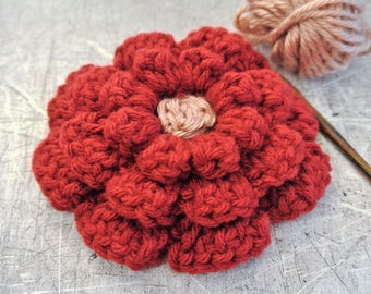 Large Crochet Flower Cranberry with Dusty Rose Center