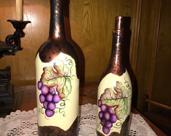 Grape Painted Wine Bottles