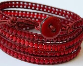 Leather Wrap Bracelet, Red Wrap Bracelet, Heart Disease Bead Bracelet, Red Bead Wrap Bracelet, Red Leather Bead Wrap Bracelet, Heart Disease