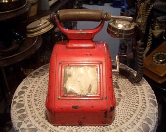 Red Vintage Very Old Hand Crank Phone