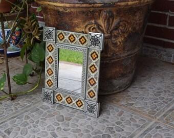 Talavera Tin Mirror 13 x 11  Handpainted Handmade Home Decor Mexican Talavera Ceramic Tile