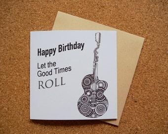 Happy Birthday Mechanical Guitar Illustration - Square Greeting Card - 141mm x 141mm