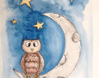 Nursery Decor Wall Art Owl Moon Stars Print only
