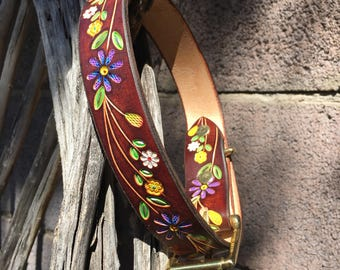 Custom Leather Dog Collar with Hand Tooled Patterns. Handmade Personalized Gifts. Dog Collar
