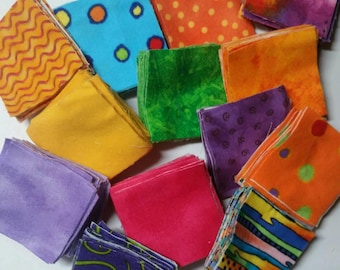 2 1/2 inch flannel squares.  Assorted bright colors.  Over 250 squares.  FREE SHIPPING to U.S only.