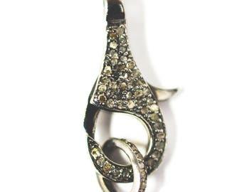 AAA Quality PAVE DIAMOND Clasp Lock Shape Sterling Silver 925 Fashion Charms Jewelry,VintagePaveDiamondClasp
