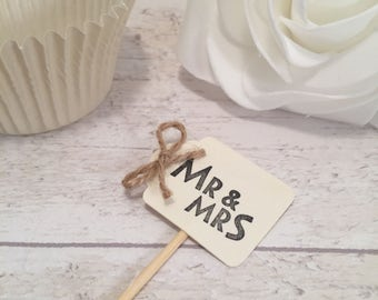 Handmade Mr & Mrs Cupcake Flags