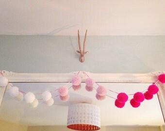 White, pink and fuchsia Pom Pom garland.