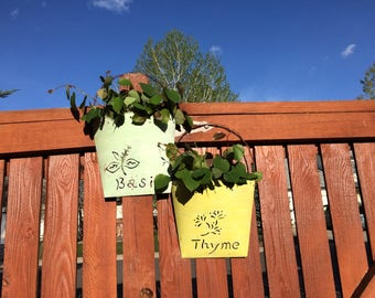 Indoor/ outdoor tin, herb or flower planters, rustic decor, country decor, gardening, garden decor