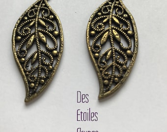 2 charms leaves - bronze - 4.3 cm