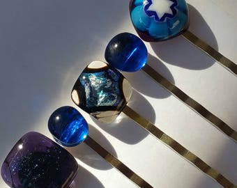 Set of 5 hair pins with kiln fused millefiore and sparkly dichroic glass in blue tones with silver tone standard length pins