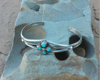 turquoise petit point childs braclet sterling silver