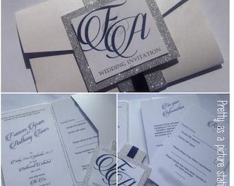 pocketfold wedding invitation,glitter weddijg invitation