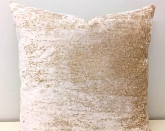 Luxury Beige Velvet Pillow Cover, Beige Pillow, Velvet Pillow, Designer Pillow, Throw Pillow, Decorative Pillows, Beige Velvet Pillow Covers