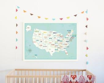 USA Wall Map Wall Art Print, 36x24,Nursery Wall Art Decor, Gender Neutral Kids Room Decor, United States of America Map