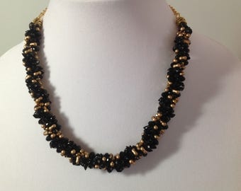 Kumihimo Black and Gold Necklace