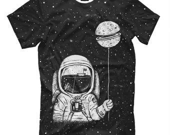 T-shirt Astronaut with a balloon,  cosmonaut,  outer space, space t-shirt, space astronaut, space art, space shirt, astronaut print,
