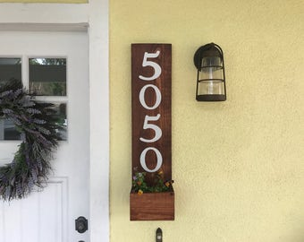 Rustic Address Planter, Address Sign, House Number Sign, Address Plaque, New House, Address Planter, Vertical Address Sign