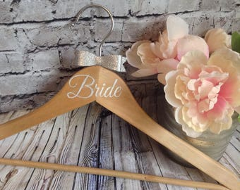 Wedding bride bridesmaid dress hanger wooden