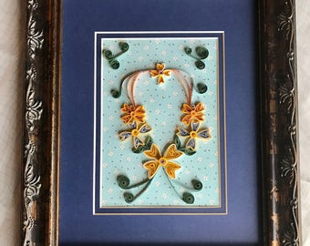 Large Framed Quilled Double Matted Dogwood Picture