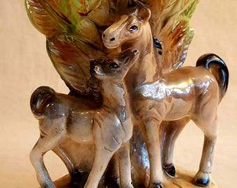 Vintage Horse and Foal Ceramic Vase, Made in Japan