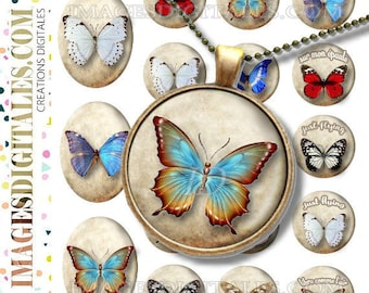 joli papillon id 1butterfly id 1 Digital Collage Sheet Printable Instant Download for art jewelry scrapbooking bottle caps magnets pins