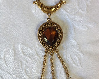 Vintage Goldette Amber glass pendant necklace