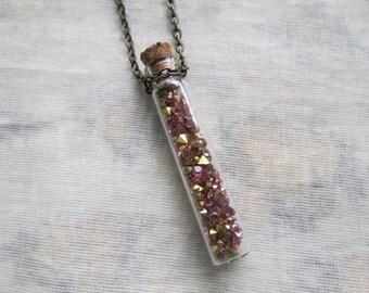 pink crystal filled glass jar necklace