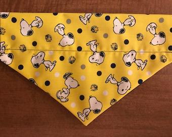 Yellow Snoopy Over the Collar Dog Bandana