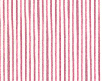 Anne of Green Gables Pink Ticking Stripe Print on Ivory 100% Cotton Fabric - FQ