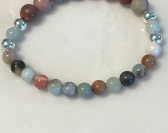 Helps with communication , strength & honor .. Amazonite , sterling silver , jasper