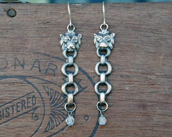 French Brass Stamping Lion Earrings with Antique Beads