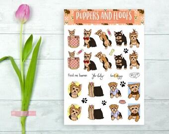Yorkie Yorkshire Terrier Puppy Stickers Decorative Cute 18pk