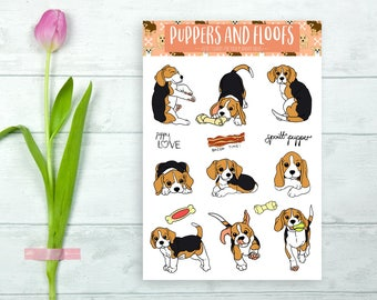 Beagle Hound Terrier Puppy Stickers 9pk