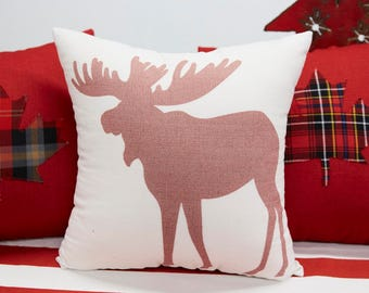 Screen Printed Red Moose Linen Pillow