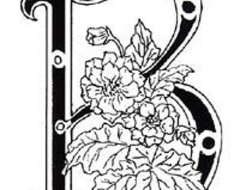 Floral Letter B Unmounted Rubber Stamp