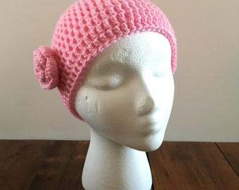 Chemo Cap with Flower - Breast Cancer - Pink