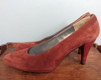 Vintage Charles Jourdan Suede Pumps // Russet Brown French High Heel Shoes Size 8.5