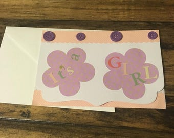 "Handmade ""It's A Girl"" card"