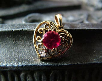 Filigree Gold Heart with Ruby & Diamond