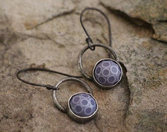 raw sterling silver earrings.boho style vintage fifties lucite.