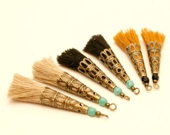6 PomPoms Beige, black, mustard, Turquoise, shell flower Pearl Bronze