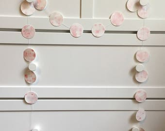 Pink confetti garland, Paper garland, Hand painted garland, Wall decorations, Watercolor wall decorations