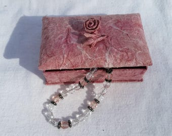Bracelet in Sparkling Faceted Clear and Pink Glass or Crystal beads