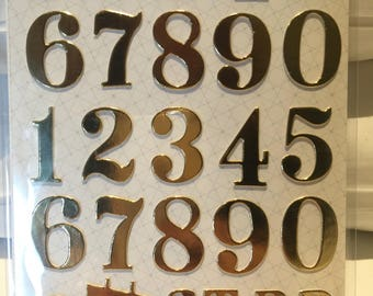 Gold foil numerical stickers